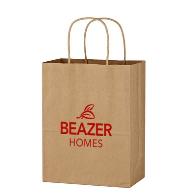 "Kraft Paper Brown Shopping Bag - 8"" x 10-1/4"""